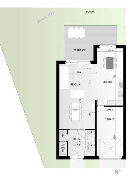 plan de maison 3 facades